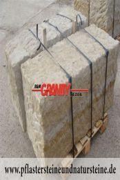 Große Sandstein-Mauersteine / Naturstein-Mauer / Sandstein-Mauer (grau-gelb), gespalten und gespitz, ohne Bohrlöcher (Sandstein-Mauersteine aus Polen), Mauersteine für eine Natursteinmauer, Polensandstein / Wasserbausteine