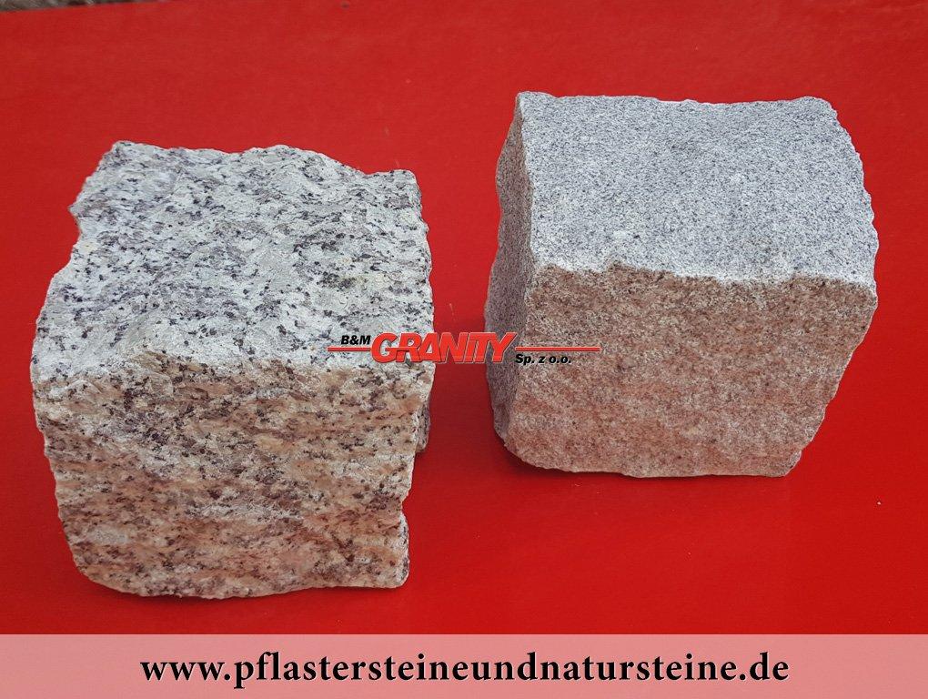 Granit-Pflastersteine - Granit-Würfel, Natursteinpflaster, allseitig gespalten, grau, Mittelkorn (rechts) und Feinkorn (links), trocken, (Pflastersteine aus polnischem Granit... Natursteine aus Polen), Pflastersteine aus Polen, Pflastersteine aus Schweden, Naturstein aus Polen und Schweden, Granit-Pflaster aus Polen, preisgünstige Pflastersteine, preisgünstige Natursteine aus Polen.