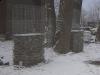 Gabionenstützmauer, Serizit-Schiefer (Schiefer aus Polen)