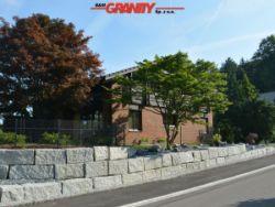 Granit-Mauersteine, grau, Mittelkorn, allseitig gespalten